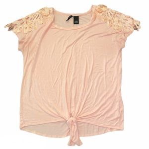 New Directions Pink Top with Lace & Tie Front, Lg